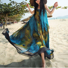 Bohemia Beach Print Peacock Maxi Vacation Dress