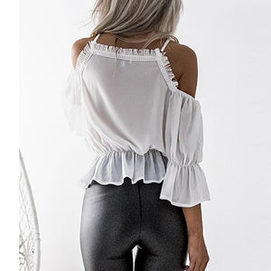Sexy V Collar Stitching Chiffon Long-Sleeved Shirt