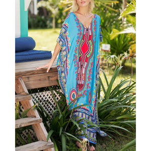 Bohemian V Collar Printing Short-Sleeved Vacation Dress
