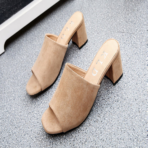Fashion Suede Fish Mouth Thick Heel Mueller Shoes