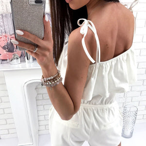 Hot Explosion Models European And American Women's Sexy Strap Short Playsuit