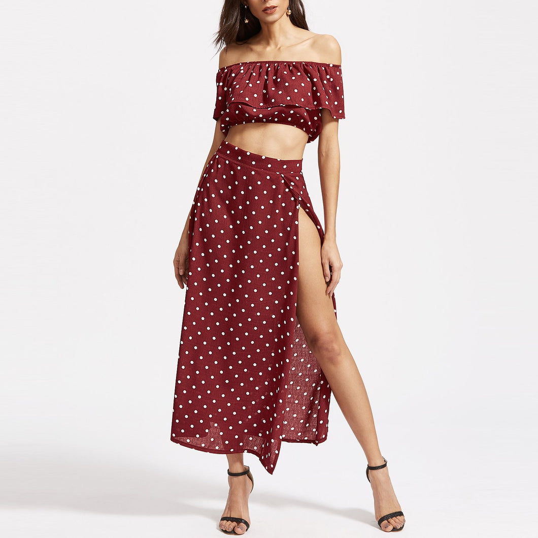 Bohemian Off-Shoulder Printing Two-Piece Vacation Dress