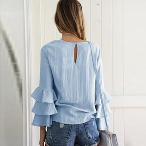 Casual Pure Color Round Collar Chiffon Shirt