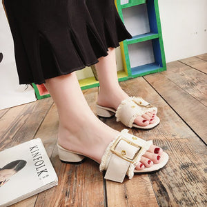 Fashion Pure Color Thick Heel Sandals