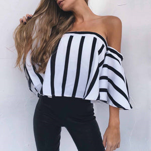Sexy Off Shoulder Stripe Blouse