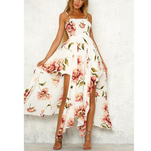 Sling Tube Dress Irregular Printed Skirt