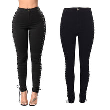 Side Metal Eyelet Decoration Tied Rope Sexy Jeans Pants