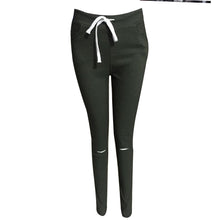 Holes Tie Expose Knees Casual Pencil Pants