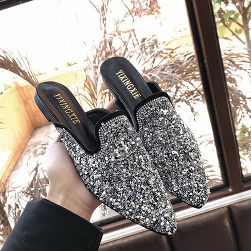Fashion Rhinestone Sequins Pointed Mueller Shoes