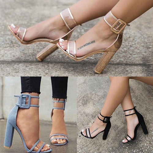 Fashion Pure Color Thick Heel Buckle Sandals
