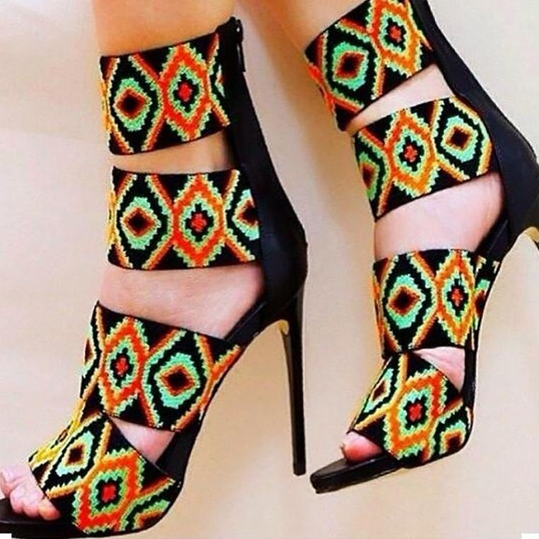 Fashion Geometric Printing Thin High Heel Sandals