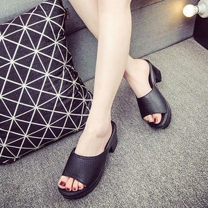 Fashion Pure Color Thick Heel Fish Mouth Sandals