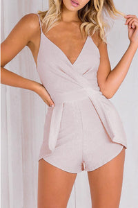 Sexy Fashion Deep V Ruched Wrap Playsuit Romper