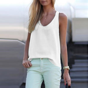 Casual Pure Color Sleeveless Chiffon Vest