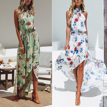 Bohemian Printing Halter Sleeveless Beach Vacation Dress