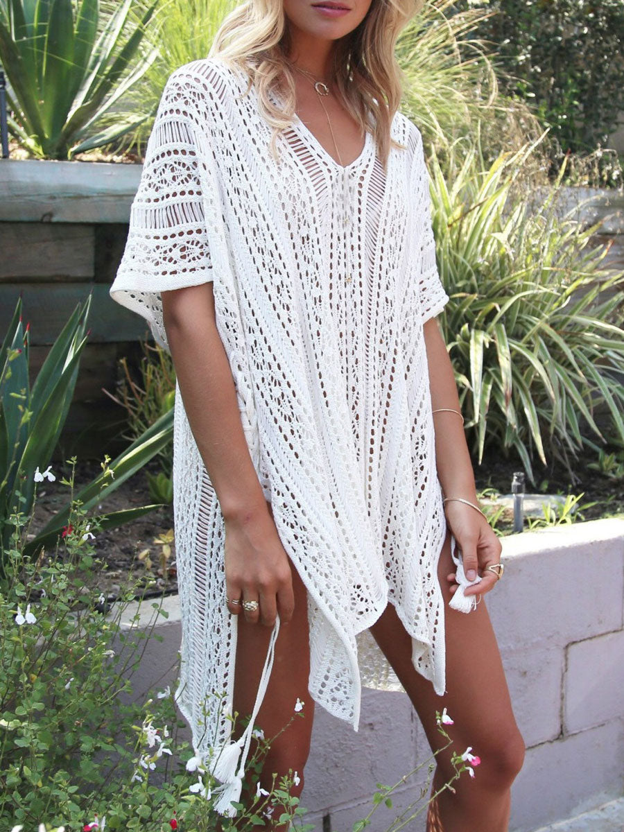 V-Neck  Decorative Lace  Plain  Kimono Sleeve  Short Sleeve Dress