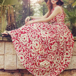 Fresh Floral Bohemian Vacation Dress