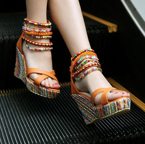Bohemian Beaded Wedge Sandals