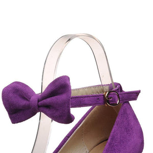 Sexy Pure Color Slim High Heel Sandals With Bow-Knot