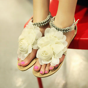 Bohemian Pure Color Lace Flower Beaded Flat Sandals