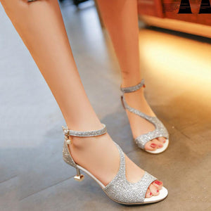Elegant Pure Color Sequins Slim High Heel Sandals
