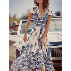 V Neck  Asymmetric Hem  Print Maxi Dress