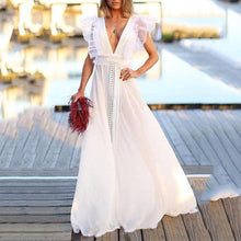 Fashion Flutter Sleeves Patchwork Maxi Dress