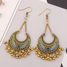 Bohemian Crescent Metal Ball Tassel Earrings