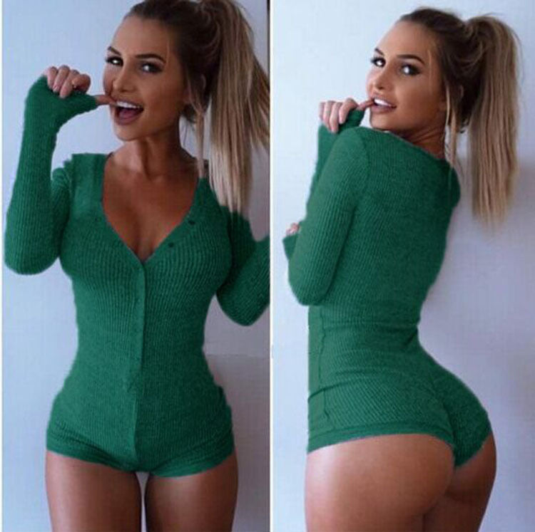 Deep V-Neck Button Thread Long Sleeve Short Playsuit