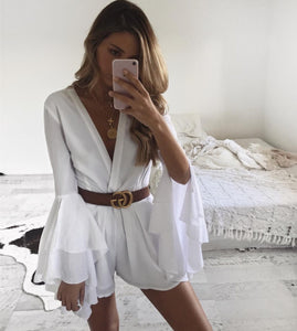 Deep V-Neck Horns Long Sleeves White Color Playsuit