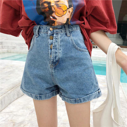 High Waist Buttoning Curling Ins Harajuku Style Denim Short Pants