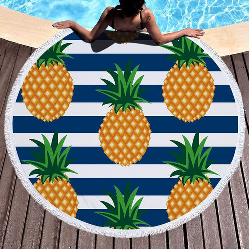 2018 Pineapple Printed Tassel Beach Towel
