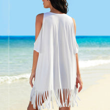 Sexy Bare Shoulder Pure Color Tassel Smock