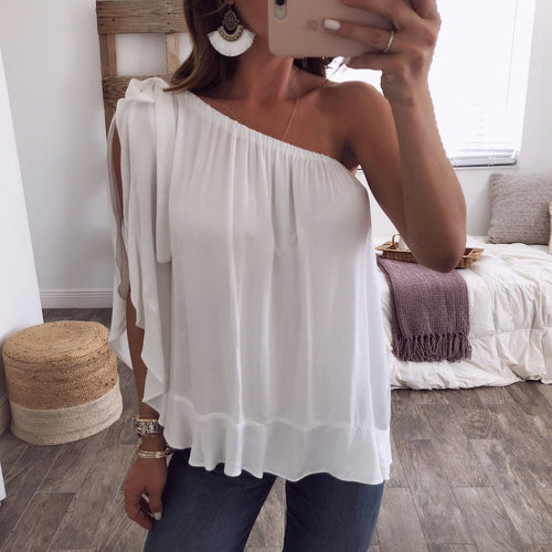Sexy Off Shoulder Pure Color Chiffon Shirt