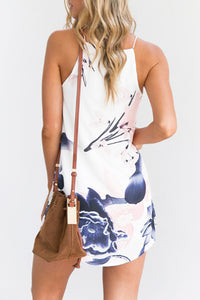 Crew Neck  Floral  Sleeveless Casual Dresses