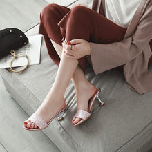 Fashion Sequins Slim High Heel Sandals