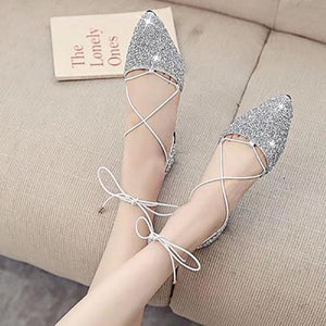 Fashion Sequins Pointed Strappy Flat Shoes