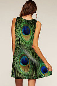 Round Neck  Peacock Feathers Prints  Sleeveless Casual Dresses