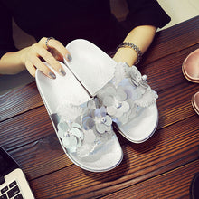 Sequins Flowers Non-Slip Flat Sandals