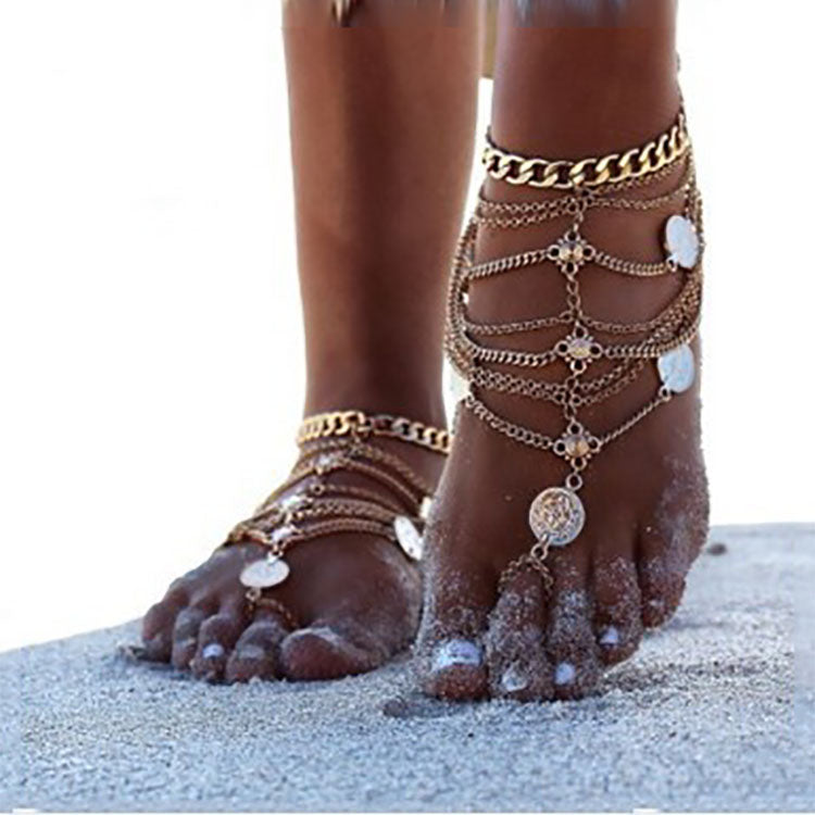 Punk Retro Beach Metal Coin Foot Chain