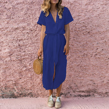 Deep V Buttons Down Long Shift Maxi Dress