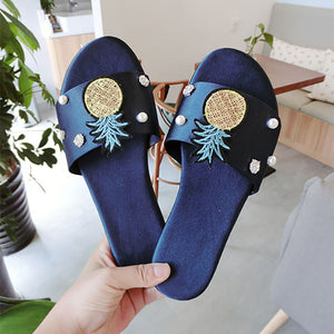 Fashion Sequin Pineapple Rhinestone Pearl Sandals
