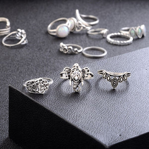 Bohemian Retro Carved Heart-Shaped Flowers 13 Sets Of Combination Rings