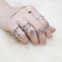 Bohemian Leaves Flowers Hollow 10 Sets Of Combination Rings