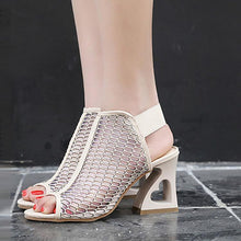 Fashion Pure Color Fish Mouth Thick Heel Sandals