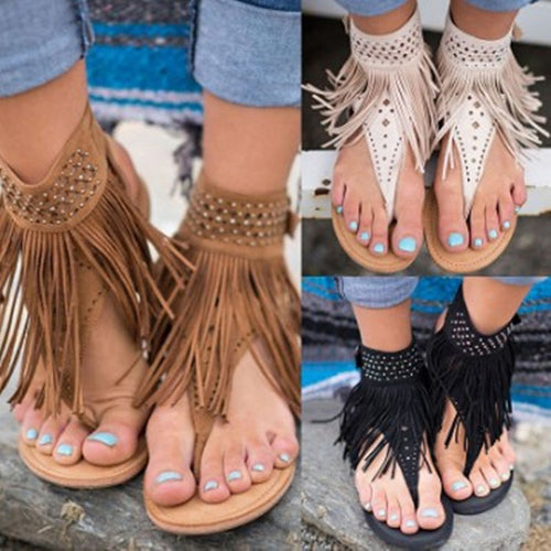 Fashion Rhinestone Tassel Clip Toe Flat Sandals