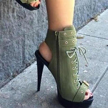 Fashion Pure Color Side Zipper Front Lacing Slim High Heel Sandals