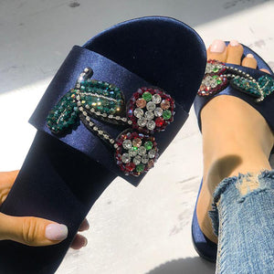 Casual Cherry Crystal Beach Flat Sandals