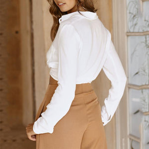 Sexy High Waist Exposed Navel Pure Color Long Sleeve Shirt