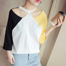 Sexy Bare Shoulder Halter Colorblock Shirt